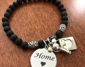 Mickey Mouse Lock and Key Charm Bracelet, Disney is Home, Disney Inspired Jewelry,semi precious stone stretch bracelet