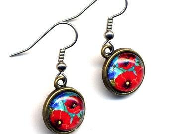 Poppy Earrings , Surgical Steel Earrings, Surgical Steel Blue Red Earrings, Red Flower Earrings, Floral Woodland Earrings by AnnaArt72