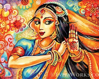 Indian dance, Indian woman painting, Bollywood dancer, artart, giclee, feminine decor, beauty painting print 8x11+