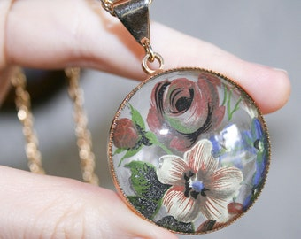 Reverse Painted Glass Style Floral Pendant Necklace