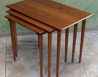 Set of 3 Teak Westnofa Nesting Tables Vintage Danish Modern Sweden Compact Small Occasional Tables