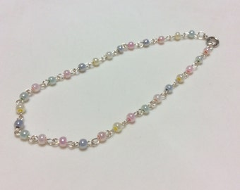 Multicolor Pastel Easter Glass Bead Wire Wrapped Chain Link Anklet - Ankle Bracelet - Blue, Pink, Yellow, Green, Purple and Orange