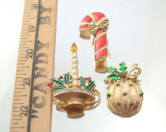 Lot 3 Vintage Christmas Pins Brooches Metal Candy Cane Ornament Candle Broaches