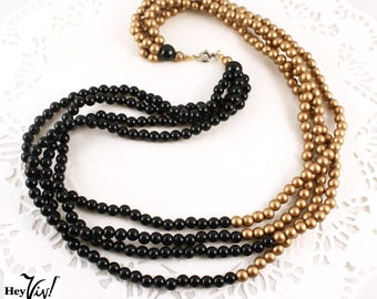"Gold & Black Vintage Bead Necklace - 4 Strand 22"" Long - Wear it Long or Short - Hey Viv"