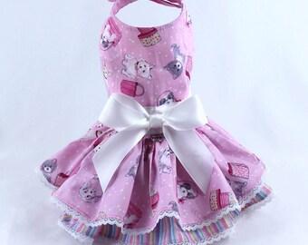 Dog Dress, Dog Harness Dress, Dog Clothes for Small Dog, Ruffle Dress for Dogs, Summer Dress, Handmade Dress, Custom Dress, Pink, Paris, dog