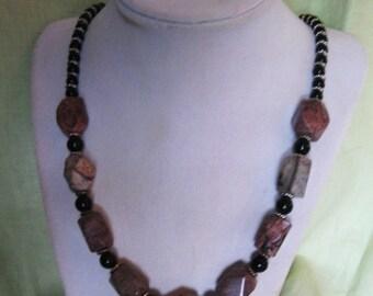"""Natural Gemstone Artisan Necklace - 21"""" long"""