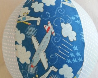 Fabric Balloon Ball Cover - TOY - blue angels Airplane jet & polka dots - Great stocking stuffer or birthday Gift