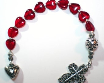 Red Glass Heart and Silver Catholic Single Decade Rosary