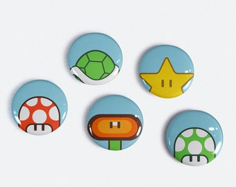Super Mario Inspired 1 inch Magnet set of 5