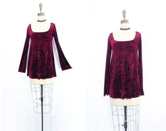 Vintage Velvet Dress Boho Babydoll Dress Burgundy Velvet Mini Bell Sleeve Dress Pam Chorley Dress Velvet Mini Dress Boho Mini Dress s to l