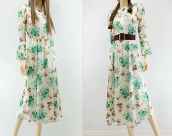 Boho Floral Dress 70s Floral Dress 70s Vintage Dress Midi Dress Bell Sleeve Dress White Floral Dress Blue Floral Dress Red Floral xs s