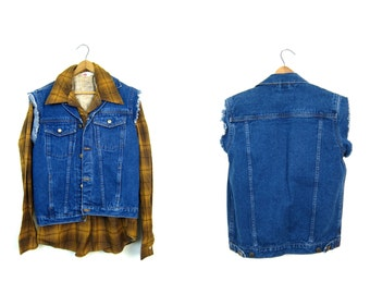 80s Denim Jean Vest Denim Trucker Jacket Dark Wash Jean Vest Cut Off Sleeveless Jean Jacket Biker Coat Vintage 1980s Boho Hipster Mens Small