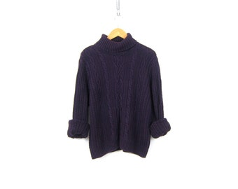 Chunky Cotton Cable Knit Sweater 90s Purple turtleneck Jumper Hipster Cableknit Top Vintage Womens Size Large XL