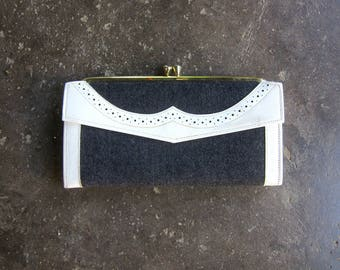 Vintage White and Gray Leather Wallet Billfold Womens wallet Coin Purse Checkbook Holder Preppy Cowhide Leather Hipster Bag