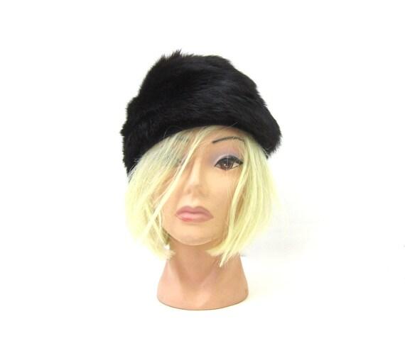 Womens Beaver Fur Hat Vintage Womens Fall Winter Fashion Hat 1950s Mid Century Dark Brown Black Cap Size Small Medium