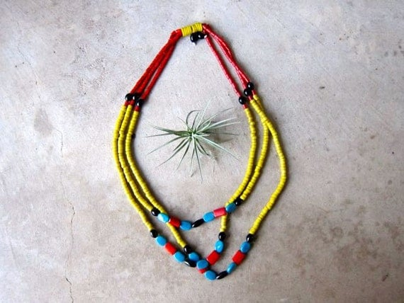Long Beaded Necklace Statement Piece Necklace Three Strand Necklace Vintage Tribal Jewelry Yellow Blue Red Boho Necklace Ethnic Jewelry