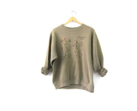 South Padre Island Sweatshirt Baggy Taupe Washed Out Pullover 1990s  Novelty Oversized Sweater Hipster DES Distressed Size Large
