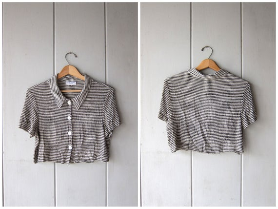 90s Cropped Top White & Black Checkered Blouse Button Up Rayon Belly Tee Vintage Minimal Boxy Shirt Modern Crop Top DES Womens Medium