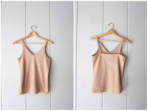 70s Basic Ribbed Tank Top Minimal Beige Crop Top Simple Modern VNeck Tank Vintage 80s Sleeveless Sporty Casual Tank Womens Small Medium