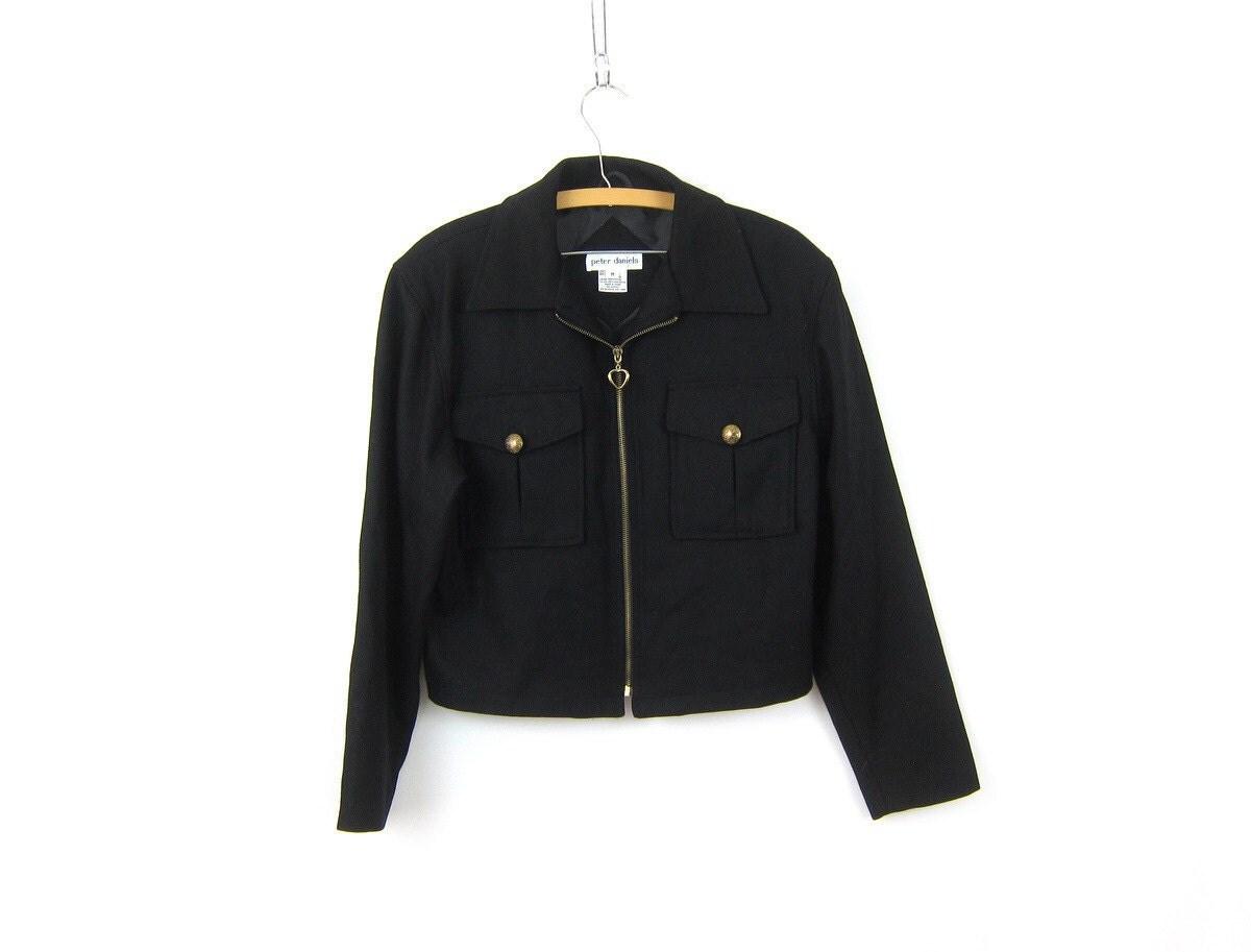 Black wool coat with gold zipper
