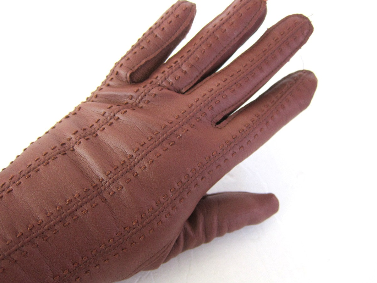 Fake leather driving gloves - Faux Leather Gloves Women S Brown Vintage Driving Gloves Dress Up Retro Fall Winter Gloves Women S Size 6 7 Small