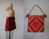 vintage 1970s purse / 70s cross body bag / 70s kilim purse / 70s woven bag / hippie boho purse / festival purse