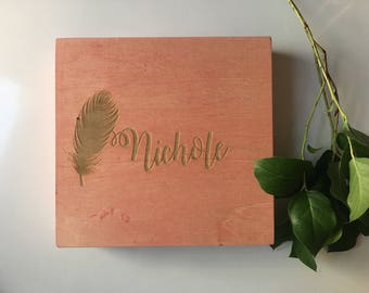 Personalized Wooden Box - Bridesmaid Gift, Jewelry Box, Gift Box - Choose From 10 Stain Colors - Memory Box, Storage Box, Keepsake Box