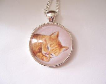 Ginger kitten pendant necklace, original pencil drawing, wearable art jewellery, cat lover gift, kitty pet portrait art, silver pendant