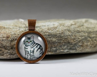 Miniature Painting Grey Tabby Cat Sterling Silver Necklace - Mini Tiny Animal Kitty Nature Handmade Jewelry - Wood Glass Pendant