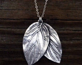 Elven Necklace | Double Leaf Necklace | Nature Jewelry | Elf Necklace | Nature Lover Gift | Elven LARP | by Treasure Cast Pewter