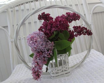 SALE * Vintage Florist Funeral Basket * Wicker * Petite Planter * Shabby Chic * Cottage * Old Farmhouse