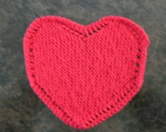 Hand Knit Red Heart Dishcloth - measures approximately 8x8 inches