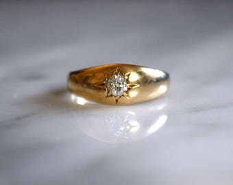 ANTIQUE VICTORIAN DIAMOND Old European cut gypsy set 18k gold .25 carat vintage engagement ring size 5.25 circa 1905