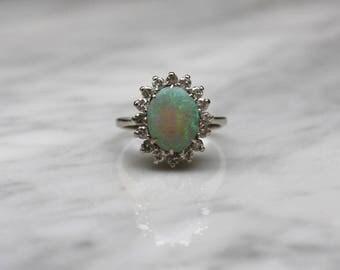 ANTIQUE DIAMOND OPAL vintage antique circa 1940s Art Deco Midcentury retro 14k gold engagement halo ring size 5.5
