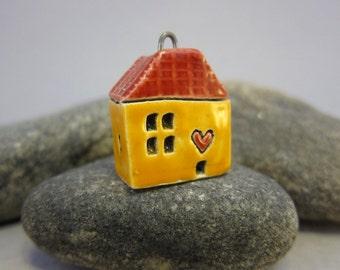 Love Lives Here...Ceramic Cottage Pendant...Yellow