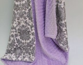 Cyber Monday Minky baby Blanket Lavender and Gray Damask, Light Purple and Gray Damask Blanket, Baby Girl Blanket Can Be Personalized