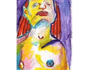 Original artwork oil pastel drawing on paper