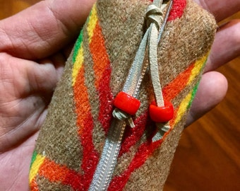 Wool Keychain Toiletry / Dopp Pouch / Purse Ornament  Southwestern Tribal Handcrafted using Pendleton Woolen Mill Fabric