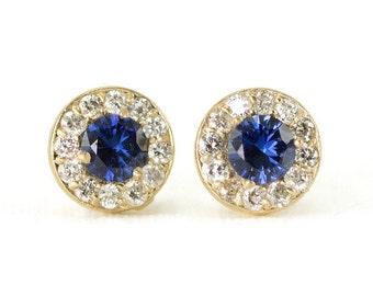 Sapphire and Diamond Halo Stud Earrings - Yellow Gold Diamond Earrings