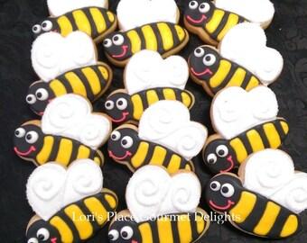 Bumble Bee Cookies - Bee Cookies - 12 Cookies