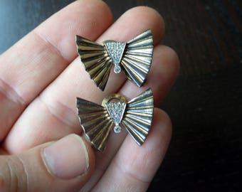 Gold Gilt Pennino Sterling Silver Butterfly Design Earrings - Clip On.