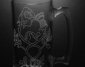25 ounce Scottish Thistle Rose Engraved Mug