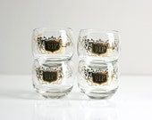 Mid Century Modern VIP Cocktail Glasses / Retro VIP Glasses / Black and Gold Mid Century Barware / 1960s Glassware Set