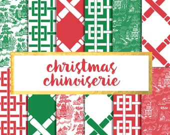 Christmas Chinoiserie Digital Paper Pack (Instant Download)