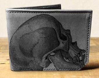 wallet - leather wallet - mens wallet- mens leather wallet - Skull wallet - 0013
