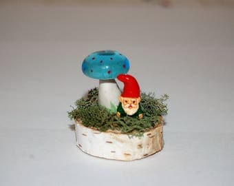 Fairy Garden, Terrarium Decoration - Miniature Gnome and  Glass/Polymer Clay Toadstool