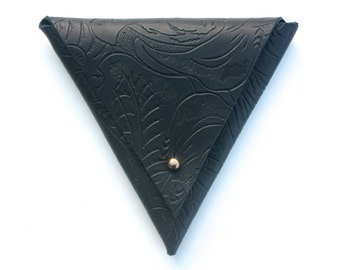 Leather Triangle Pouch - Black Floral