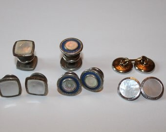 Vitage Cuff Links, One Mother of Pearl, 2 Slip Grip