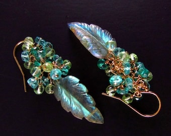 20 Off Carved Labradorite Leaf With Apatite, Aquamarine And Green Prasiolite Gold Filled Earrings