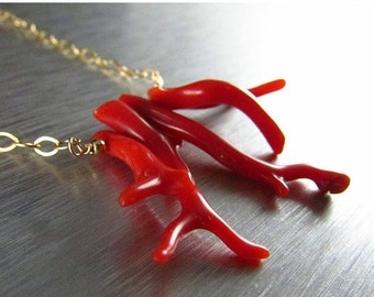 25% Off Red Branch Coral Necklace, Gold And Red Coral Necklace